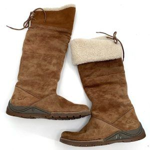 CAT CATERPILLAR Knee High Suede Boots Fold Over 7W